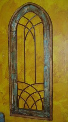 Valeria-Rustic Architectural Gothic Wall Window-Wood & Iron-Home Decor-Turquoise | eBay