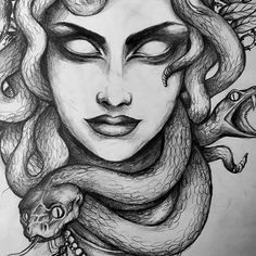medusa snakes tattoo drawing on Instagram