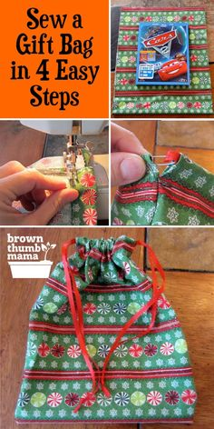 Never buy wrapping paper again! Sew this easy drawstring gift bag and save time, money, and the environment. Great use for fabric scraps or fat quarters. bag wrapping Sew an Easy Drawstring Gift Bag Christmas Sewing Projects, Easy Sewing Projects, Sewing Projects For Beginners, Sewing Hacks, Sewing Tutorials, Sewing Crafts, Sewing Tips, Christmas Gift Bags To Sew, Fabric Scrap Crafts