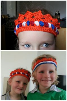 Koningsdag kroontje voor mijn meisje. Patroon van wolplein.nl. Ik wilde graag rood wit blauw, die drie kleuren heb ik mee gevoerd rondom en steeds gewisseld.