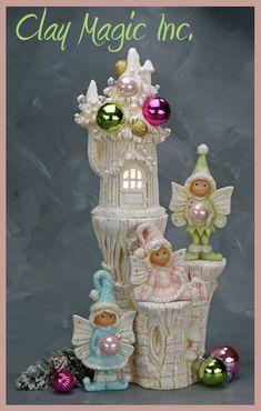 Polymer Clay Fairy, Polymer Clay Christmas, Polymer Clay Dolls, Polymer Clay Projects, Ceramic Clay, Ceramic Painting, Ceramic Bisque, Clay Fairy House, Fairy Houses
