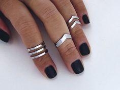 Knuckle ring set Double chevron midi ring set / by AshkalJewelry