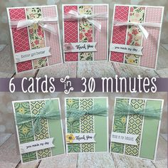 Need some quick cards? Here are instructions and supply lists for a set of 6 cards that you can make in under 30 minutes. Fun Fold Cards, Quick Cards, Folded Cards, Cute Cards, Scrapbook Cards, Scrapbooking, Simple Card Designs, Military Cards, Birthday Cards