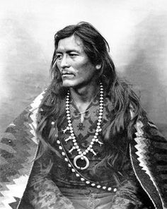 """Manuelito (1818–1893), one of the principal war chiefs of the Diné people. As any Navajo, he was known by different names depending upon context. He was Ashkii Diyinii (Holy Boy), Dahaana Baadaané (Son-in-Law of Late Texan), Hastiin Ch'ilhaajiní (""""Black Weeds"""") and as Nabááh Jiłt'aa (War Chief, """"Warrior Grabbed Enemy"""") to other Diné, and non-Navajo nicknamed him """"Bullet Hole""""."""