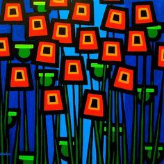 John Nolan Solid-Faced Canvas Print Wall Art Print entitled Night Poppies, None Broken Glass Art, Sea Glass Art, Stained Glass Art, Shattered Glass, Wood Glass, Fused Glass, Wall Art Prints, Canvas Prints, Framed Prints