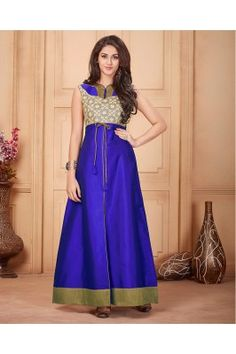 Get set go for your passion of styling with this blue printed taffeta front slit anarkali suit. Designer Kurtis Online, Designer Gowns, Indian Dresses, Indian Outfits, High Collar Dress, Anarkali Kurti, Long Anarkali, Lehenga Gown, Embroidered Kurti