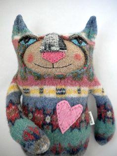 Striped Cat Stuffed Animal from Wool Sweater by sweetpoppycat