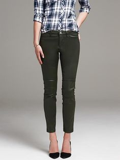 Coated Green Sateen Skinny Ankle Pant
