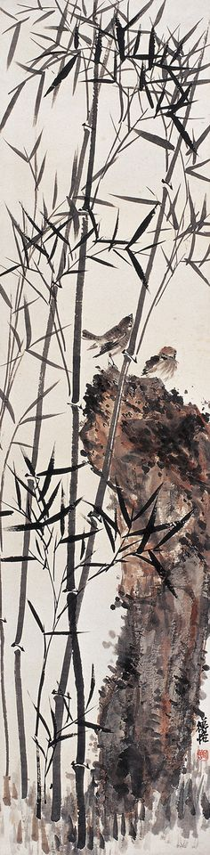 Chen Shizeng: Bamboo, Rock, and Sparrows: Chinese bird painting
