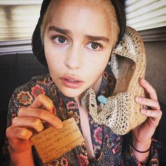 Pin for Later: 30 Times Emilia Clarke Was Not Only the Mother of Dragons, but the Queen of Instagram The Time She Used a Shoe For a Phone, So You Started Using a Shoe For a Phone