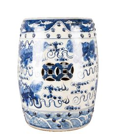 """Blue and White Chinese Lion Garden Stool – The Pink Pagoda 14x18"""" $320"""