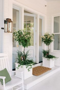 Home Decor Ideas Modern Our Front Porch Makeover - Gal Meets Glam.Home Decor Ideas Modern Our Front Porch Makeover - Gal Meets Glam Front Porch Plants, Front Porch Design, Front Door Planters, Garden Planters, Porch Planter, Front Porch Lights, Front Porch Garden, Front Porch Steps, Garden Entrance