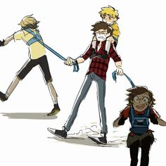 The Chipher Pines Family  ''Yes Bill is on a baby leash just like her daugther''
