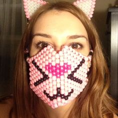 Accessories - Pink kandi cat mask and ears