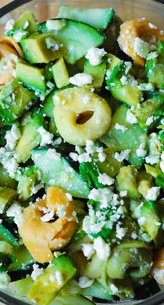 Greek Tortellini Salad with Avocados and Cucumbers in a creamy Greek Salad Dressing.  Light and healthy vegetarian recipe: full of fiber and healthy dietary fats!