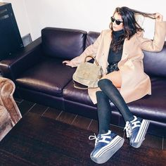 Giulia Salemi wearing her #HOGAN H283 Maxi Platform #sneakers at the #MFW #HoganClub