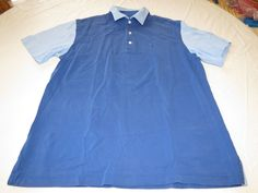 Paul Stewart L short sleeve Polo short sleeve Shirt blue cotton EUC @ #PaulStewart #Polo