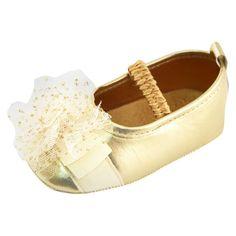 ALAINA - Target $10 | Baby Girls' Rising Star Metallic Mary Jane Crib Shoes Gold. Image 1 of 2.