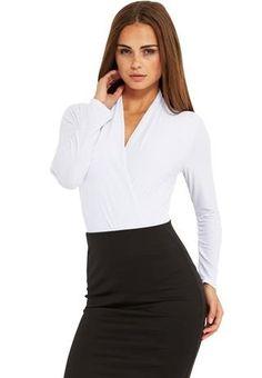White Plunging V-neck Bodysuit Tp @ BodyC $20