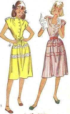 1940s Dress Pattern Simplicity 1969 Gathered Skirt Cap Sleeve Day Dress Junior Teen Vintage Sewing Pattern Bust 30