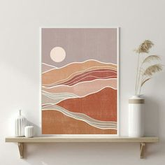 WOWprintdesign shared a new photo on Etsy - Abstract landscape Sun art Earth tones Rust Terracotta Burnt orange prints Boho decor Modern art pr - Minimal Art, Wallpaper Fofos, Boho Dekor, Abstract Landscape, Landscape Edging, Mountain Landscape, Landscape Paintings, Modern Abstract Art, Abstract Wall Art