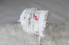 baby bonnet, simply from white and with flowers pattern cotton fabric , newborn Photo prop, baby hat, vintage girl via Etsy
