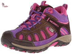 Merrell - Cham Mid Lc WTPF - Chaussure de randonnée - Montante - Garçon - Multicolore (Brun/Rose) - 38 EU - Chaussures merrell (*Partner-Link)