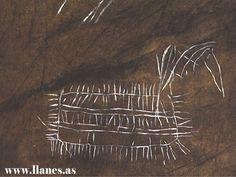 Simbolos grabados por el hombre de hace 18000 en la cueva El Buxu, Cangas de Onís Asturias