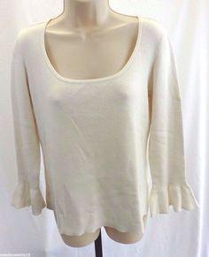DKNY JEANS Off White Ivory Sweater Women's Size XL Flutter Sleeve  #DKNY #BoatNeck