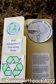 Reduce Reuse Recycle adapt for classroom use Running With Wolves: Wolf Achievement 7 Lapbook lesson