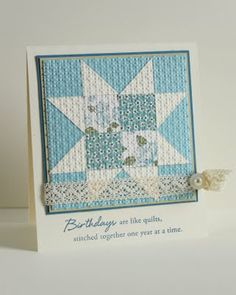 star quilt block in pale blues +white...embedding done with embossing...lovely quote to match...