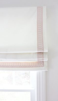 Schumacher Arches Embroidered Tape Trim Custom Roman Shades in Elliott Brushed Cotton in Nursery (shown in Blush Pink 2 Wide-comes in several colors) Gypsy Curtains, Roman Curtains, Roman Blinds, Blinds Curtains, Window Valances, Burlap Curtains, Bedroom Curtains, Drapery, Custom Drapes