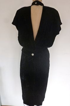 304177f872478 Vintage Dress Black Velvet 1980 s Cocktail Dress 50 s Bombshell Style Dress  Size 10 Made by BB Collections Made in USA 1980s