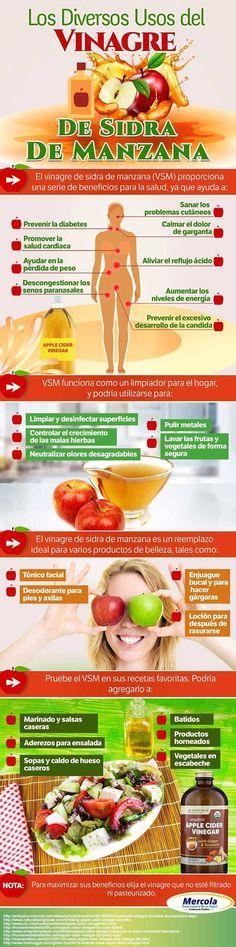 Beneficios, usos y propiedades del vinagre de sidra de manzana. #vinagredemanzana #infografia #remediosnaturales #remedioscaseros