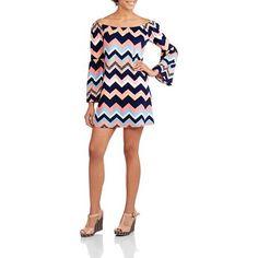Juniors Bell Sleeve Scoopneck Chevron Dress Lana Del Rey Concert, What Should I Wear, Junior Fashion, Chevron Dress, Bell Sleeves, Scoop Neck, Walmart, How To Wear, Wraps