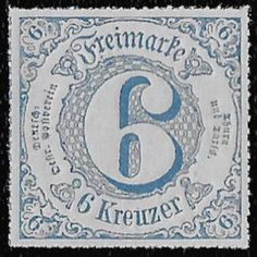 + 1866 Thurn u.Taxis Southern District German States #62 A1 6kr MH unused