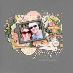 Digital Scrapbook Layout by CT Jenn using Digital Scrapbook Kit Grateful by Luv Ewe Designs and Blue Heart Scraps