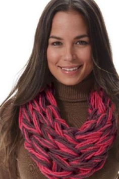 Cuddle up with this arm knit infinity scarf that you can customize in any color -- a great gift idea!