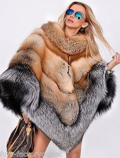 NEW MULTI COLOR SAGA FOX FUR PONCHO CLAS OF SABLE MINK CHINCHILLA COAT FIRE GOLD in Clothes, Shoes & Accessories, Women's Clothing, Coats & Jackets   eBay
