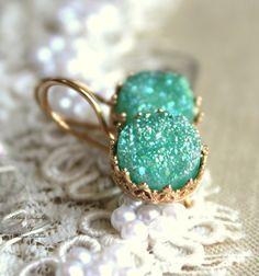 Mint+Druzy+Leverback+earrings+Green+seafoam++14k+Gold+by+iloniti,+$59.00