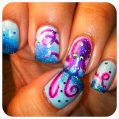 """Lea Acosta really nailed the """"Under the Sea"""" theme with this manicure. The octopus nail art is truly magical to look at."""