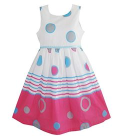 493c7ea247 Sunny Fashion Girls Dress Blue Dot Pink Party Sundress Size 6     You can