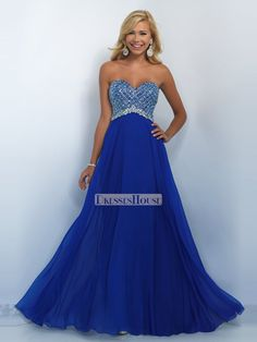 Empire Waist Strapless Beaded Bodice Chiffon Prom Dress PD12105