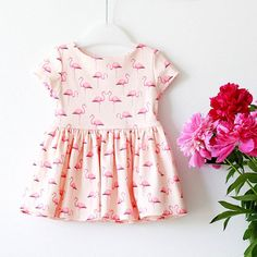 Flamingo Organic Cotton Knit Dress  Size 0-3 by RockyRacoonApparel