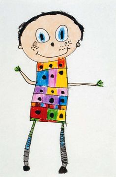 Art For Small Hands -- The children do exercises to learn about the proportions of their bodies and then draw self-portraits.