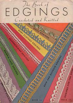 Spool Cotton Edgings Crochet Knitting 64 Patterns Doily Hairpin Lace Home 1935 #CoatsClark