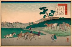 Yaji and Kita evaluate the ponies at Chiryū, the station of the Tokaido and a famous horse-trading town. Japanese Painting, Japanese Art, Tokyo To Kyoto, Famous Novels, A Comics, Woodblock Print, Asian Art, Pony, Vintage World Maps