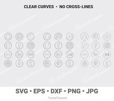 Social Media Vector Logos, Cricut png jpg dxf svg eps Files, Brother Cut, Facebook Twitter Social Me