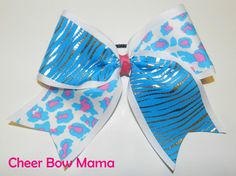 Pink and Turquoise Zebra and Cheetah Cheer Bow by Cheer Bow Mama
