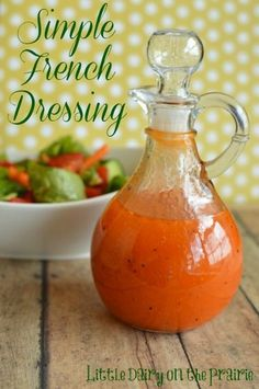 I am a little picky about my salad dressings. Making salad dressing at home is simple, less expensive, better for you and tastier than buying it. Simple French Dressing is a recipe that my mom got from a friend a long time ago. Cesar Salat, Sauce Recipes, Cooking Recipes, Cooking Tips, Salad Dishes, Marinade Sauce, Homemade Dressing, Salad Dressing Recipes, Antipasto